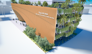 The green arch, the Belgian pavilion at Expo 2020 Dubai (c) BelExpo